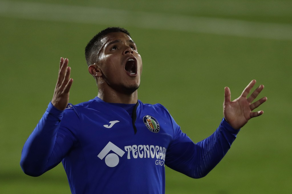 Getafe's Cucho Hernandez reacts during the Spanish La Liga soccer match between Getafe and FC Barcelona at the Alfonso Perez stadium in Getafe, Spain,...