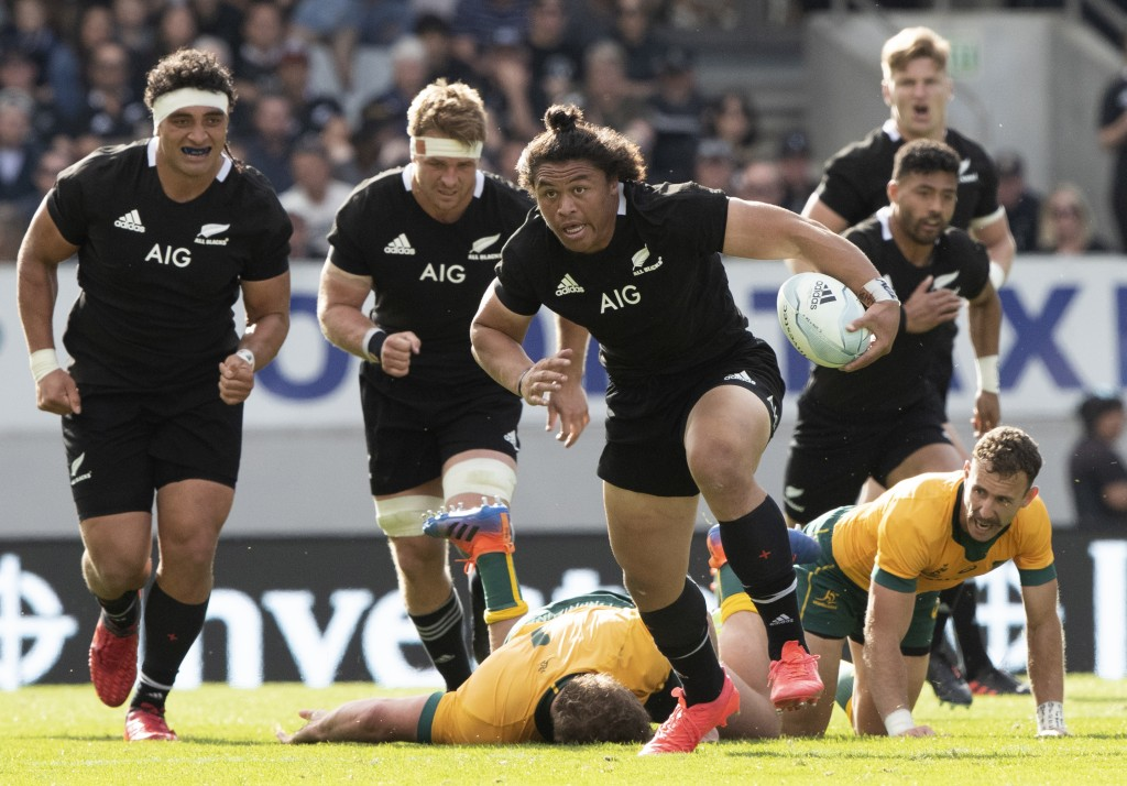 New Zealand's Caleb Clarke makes a run during the second Bledisloe Rugby test between the All Blacks and the Wallabies at Eden Park in Auckland, New Z...