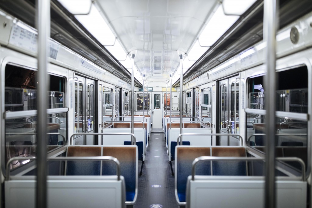 The subway is empty of passengers during curfew in Paris, Saturday, Oct. 17, 2020. French restaurants, cinemas and theaters are trying to figure out h...