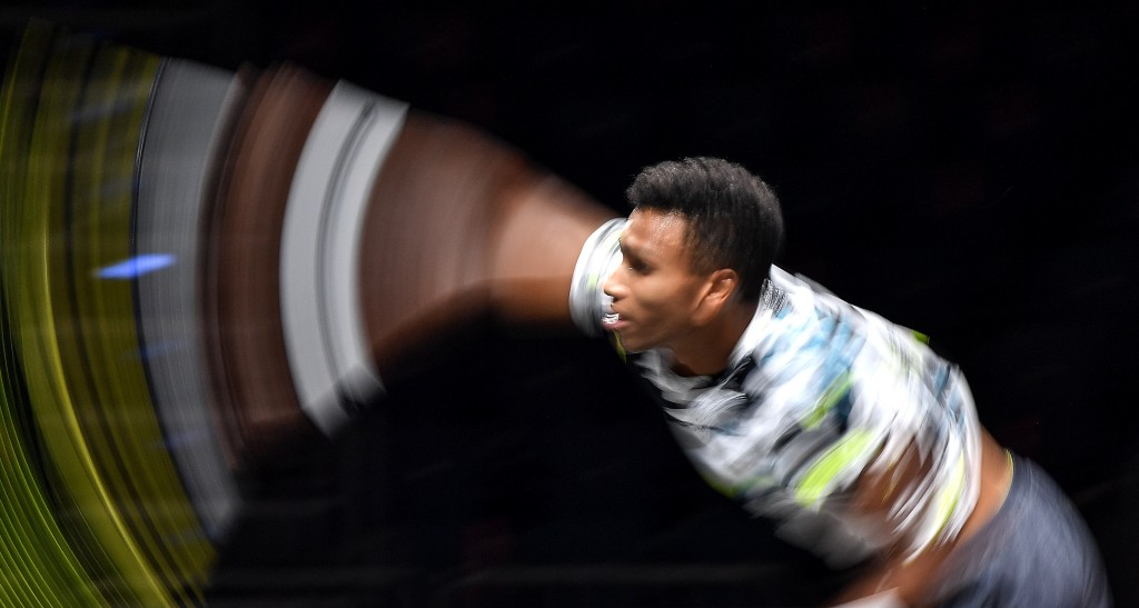 Canada's Felix Auger-Aliassime serves the ball in this long time exposure picture during his ATP bett1HULKS Indoors tennis final against Germany's Ale...
