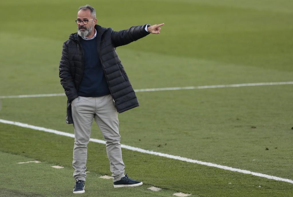 Cadiz's head coach Alvaro Cervera reacts during the Spanish La Liga soccer match between Real Madrid and Cadiz at the Alfredo di Stefano stadium in Ma...