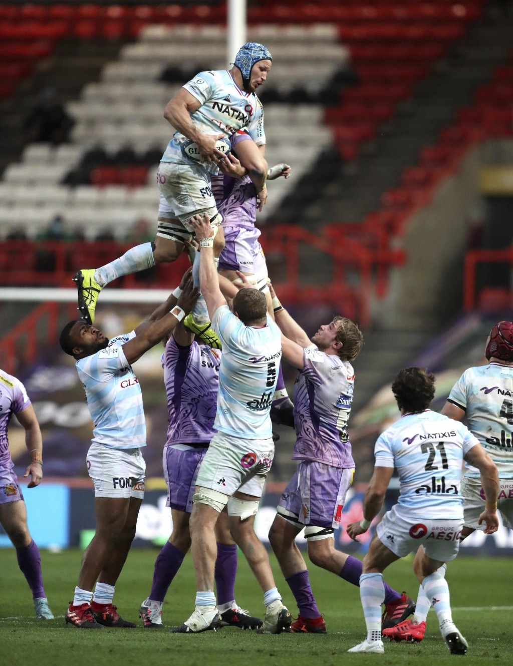 Racing 92's Wenceslas Lauret wins a line out, during the European Champions Cup Final rugby match between Exeter Cheifs and  Racing 92, at Ashton Gate...