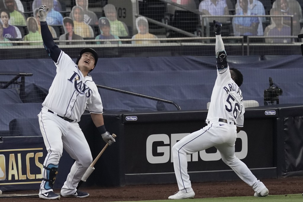 Tampa Bay Rays Randy Arozarena (56) celebrates his two run home run against the Houston Astros with Ji-Man Choi during the first inning in Game 7 of a...
