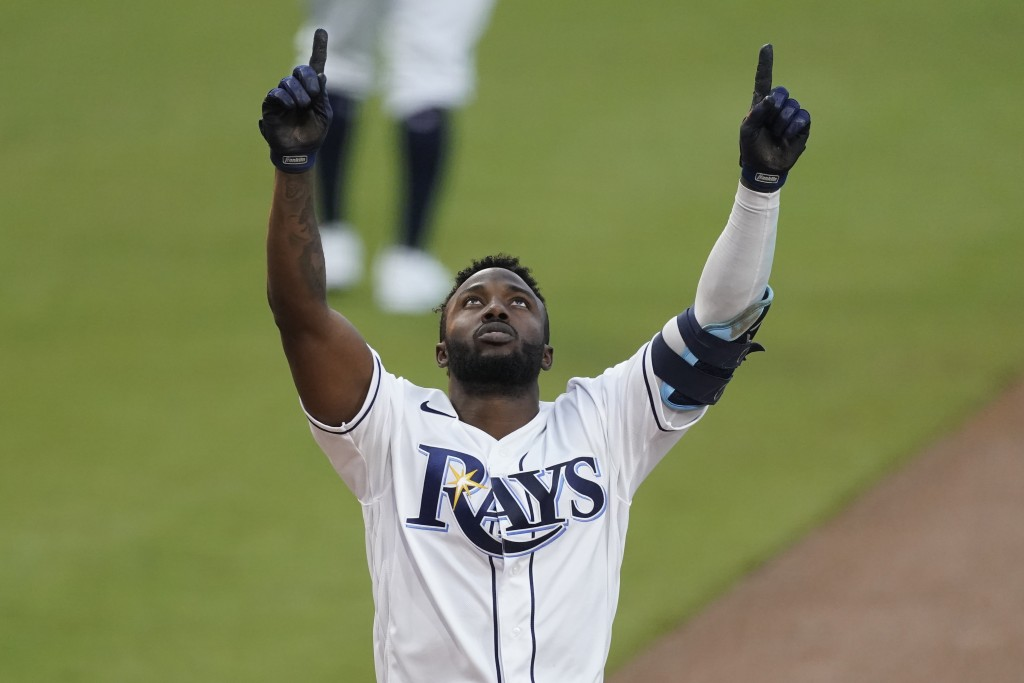 Tampa Bay Rays Randy Arozarena celebrates after hitting a two run home run against the Houston Astros during the first inning in Game 7 of a baseball ...