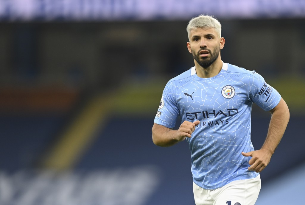 Manchester City's Sergio Aguero runs during the English Premier League soccer match between Manchester City and Arsenal at the Etihad stadium in Manch...