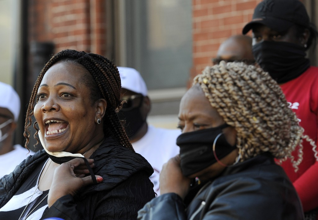 Philadelphia Sheriff Rochelle Bilal, left, talks to reporters during a press conference, Friday, Oct. 9, 2020, in Philadelphia. Bilal, who was elected...