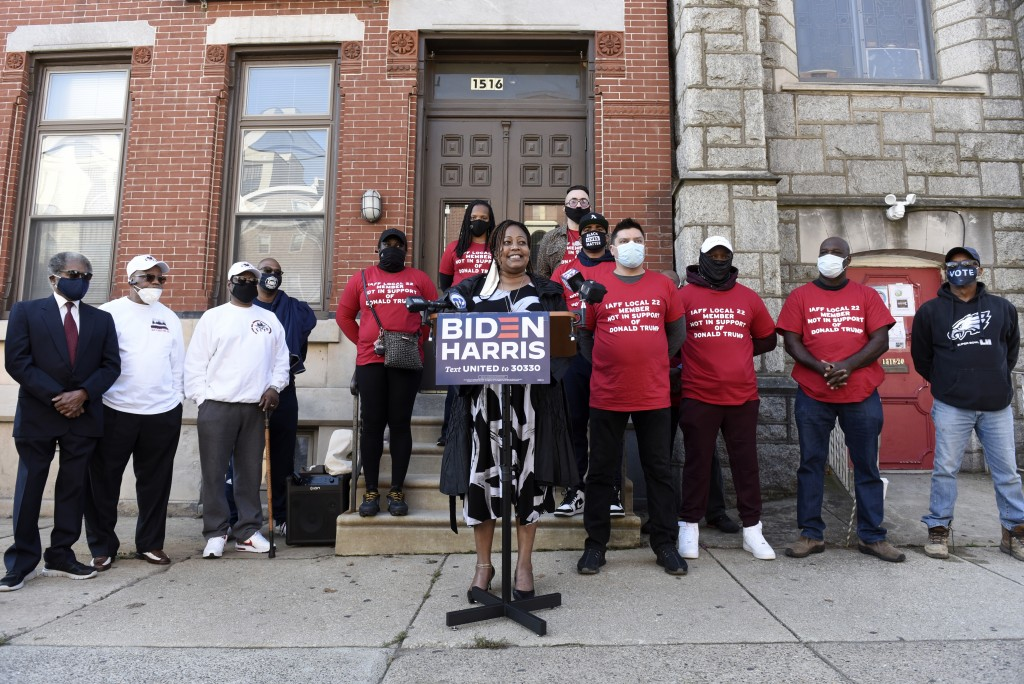 Philadelphia Sheriff Rochelle Bilal talks to reporters during a press conference, Friday, Oct. 9, 2020, in Philadelphia. Bilal, who was elected as Phi...
