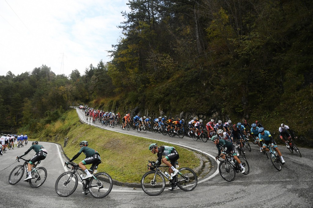 Cyclists compete during the 15th stage of the Giro d'Italia cycling race, from Rivolto to Piancavallo, Italy, Sunday, Oct. 18, 2020. (Fabio Ferrari/La...