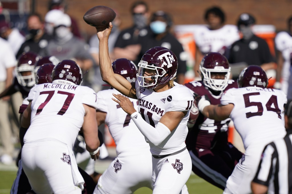 Texas A&M quarterback Kellen Mond (11) passes against Mississippi State during the first half of an NCAA college football game against Mississippi Sta...
