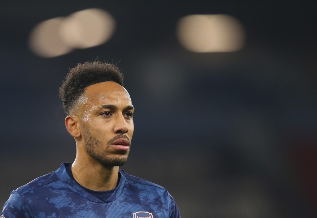 Arsenal's Pierre-Emerick Aubameyang reacts during the English Premier League soccer match between Manchester City and Arsenal at the Etihad stadium in...