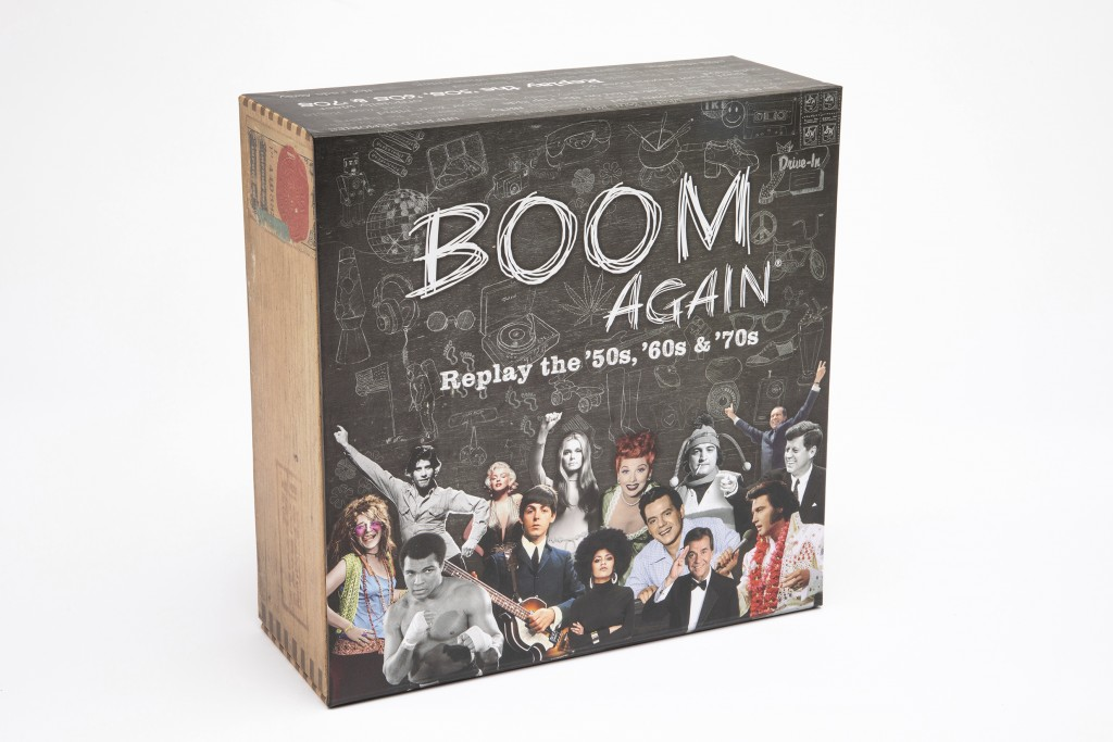 This image shows Boom Again, a trivia quiz game that speaks directly to the generations that grew up in the '50s, '60s and '70s. It features over 2,20...