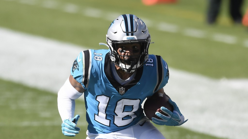 Carolina Panthers' Keith Kirkwood runs the ball during the second half of an NFL football game against the Chicago Bears in Charlotte, N.C., Sunday, O...