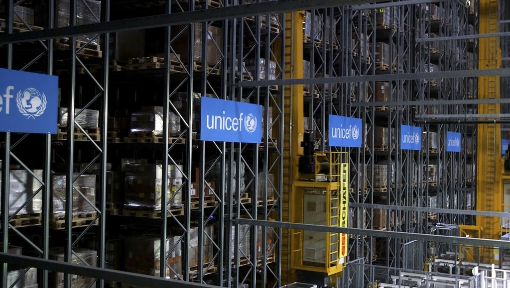 This image taken from video shows the inside of the UNICEF warehouse, the world's largest humanitarian aid warehouse, in Copenhagen, Denmark , Tuesday...