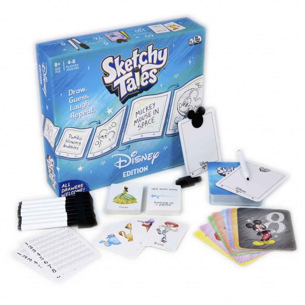 This product image shows items included in the Sketchy Tales, Disney Edition game where players take turns drawing classic Disney characters doing unu...