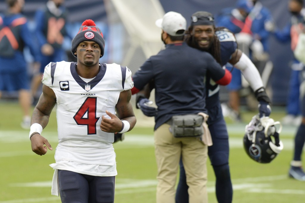 Houston Texans quarterback Deshaun Watson (4) leaves the field after losing to the Tennessee Titans in overtime of an NFL football game Sunday, Oct. 1...