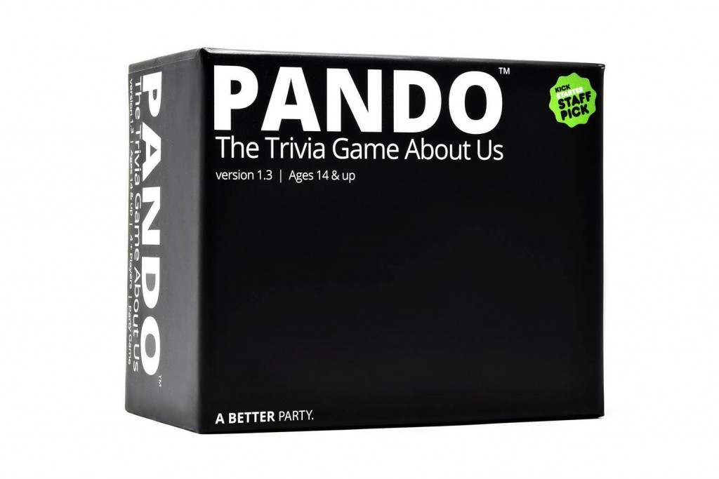 This image shows Pando, he Trivia Game About Us, where players draw cards and read questions aloud to see who knows best.  (Pando via AP)