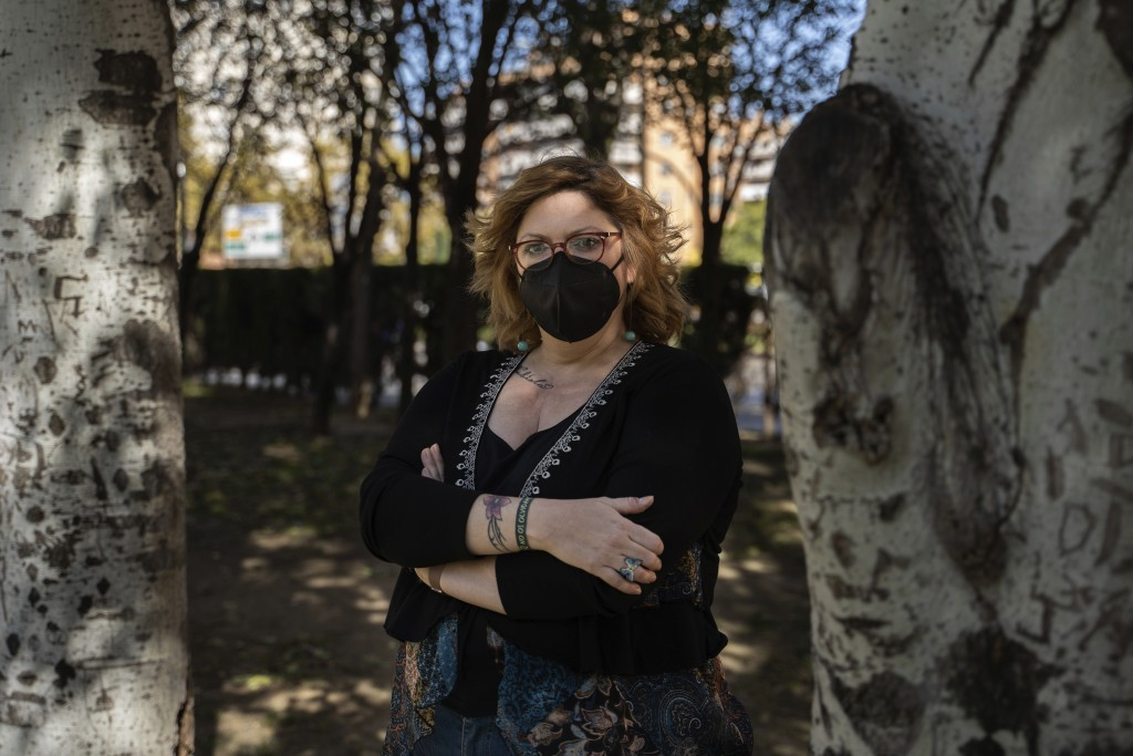 Lucía Ruiz, who survived an attack by the Basque separatist militant group ETA in 1987 when she was 10 years old, poses for a photo near the site of t...