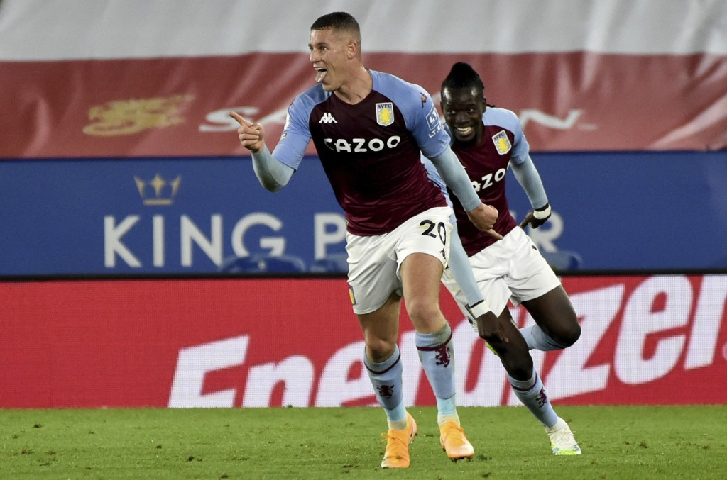 Aston Villa's Ross Barkley celebrates after scoring during the English Premier League soccer match between Leicester City and Aston Villa at the King ...