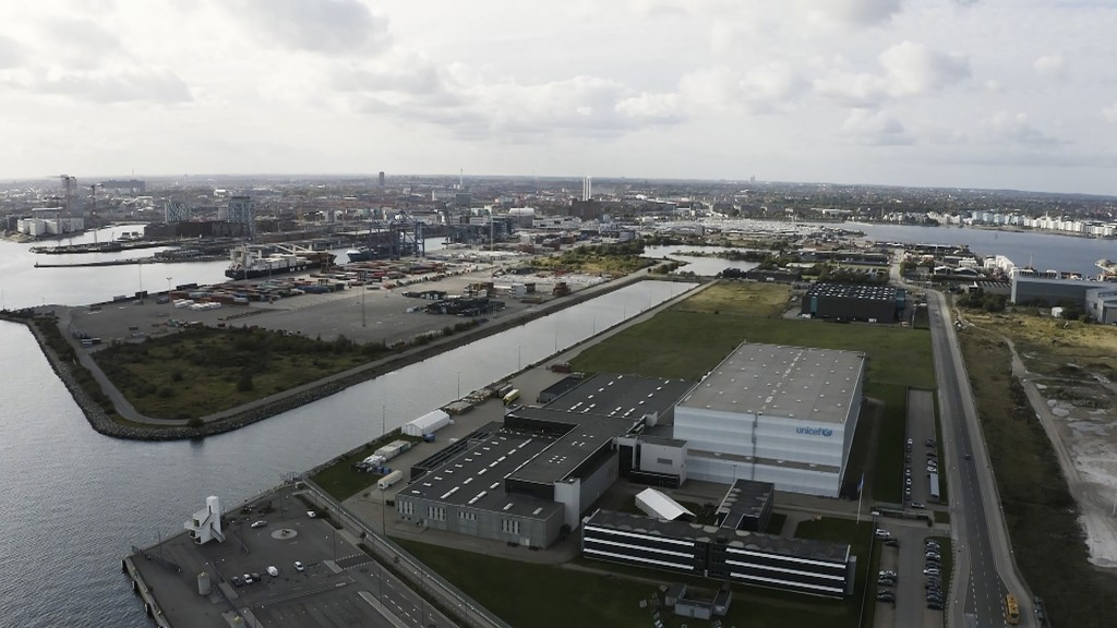 Image taken from video showing an aerial view of the UNICEF warehouse, the world's largest humanitarian aid warehouse, in Copenhagen, Denmark, Tuesday...
