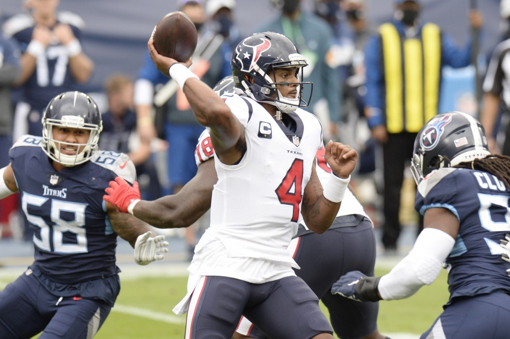 Houston Texans quarterback Deshaun Watson (4) passes against the Tennessee Titans in the first half of an NFL football game Sunday, Oct. 18, 2020, in ...
