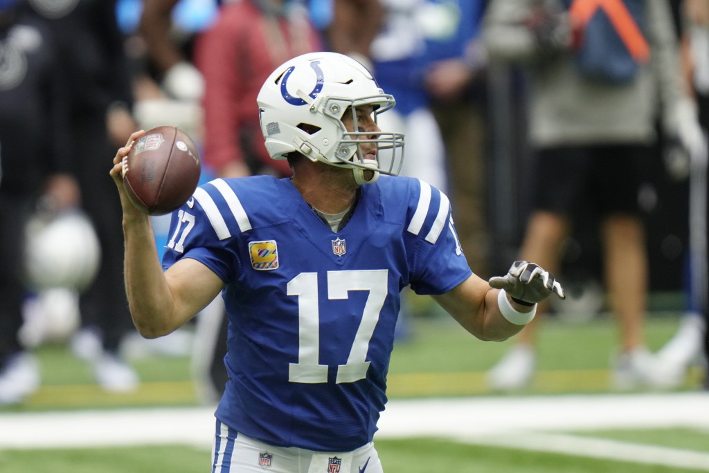 Indianapolis Colts quarterback Philip Rivers (17) throws during the first half of an NFL football game against the Cincinnati Bengals, Sunday, Oct. 18...