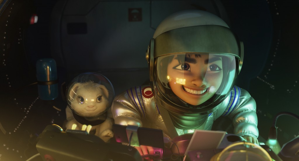 "This image released by Netflix shows characters Bungee the rabbit, left, and Fei Fei, voiced by Cathy Ang, in a scene from ""Over the Moon."" (Netflix v..."