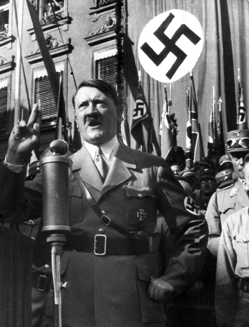 FILE - An undated file picture shows the leader of the National Socialists Adolf Hitler, gesturing during a speech. A prominent European Jewish organi...