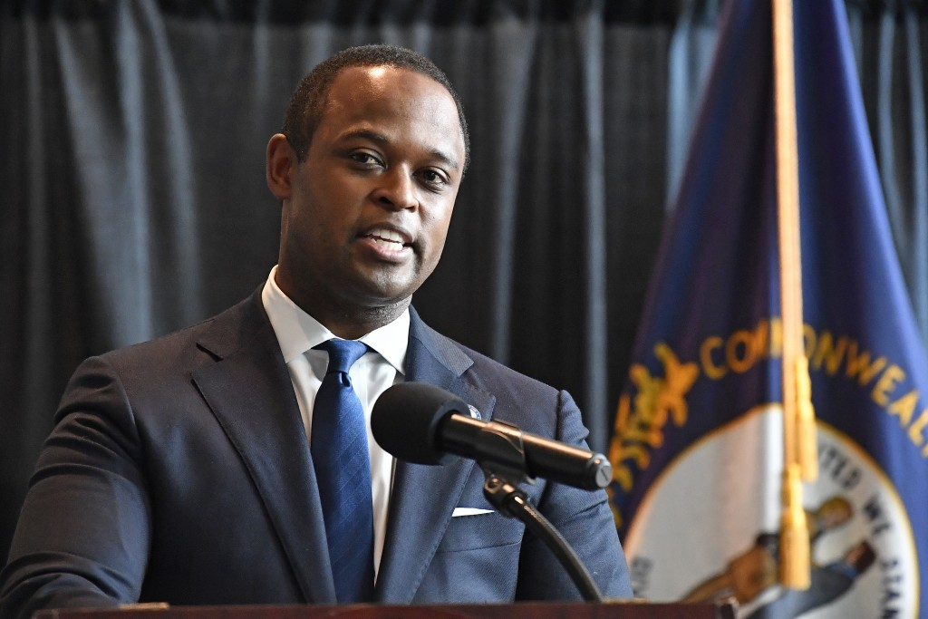 Kentucky Attorney General Daniel Cameron addresses the media following the return of a grand jury investigation into the death of Breonna Taylor, in F...