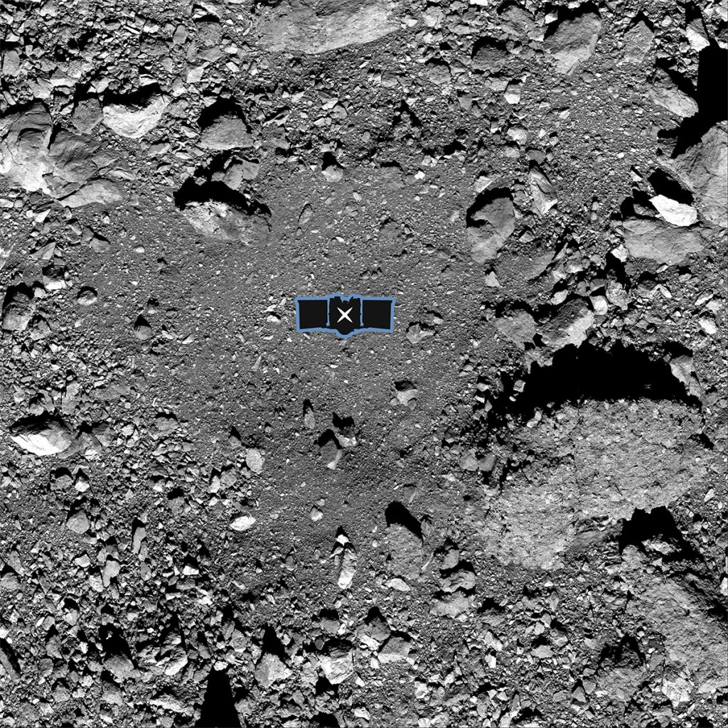 "This undated image made available by NASA shows the OSIRIS-REx spacecraft's primary sample collection site, named ""Nightingale,"" on the asteroid Bennu..."