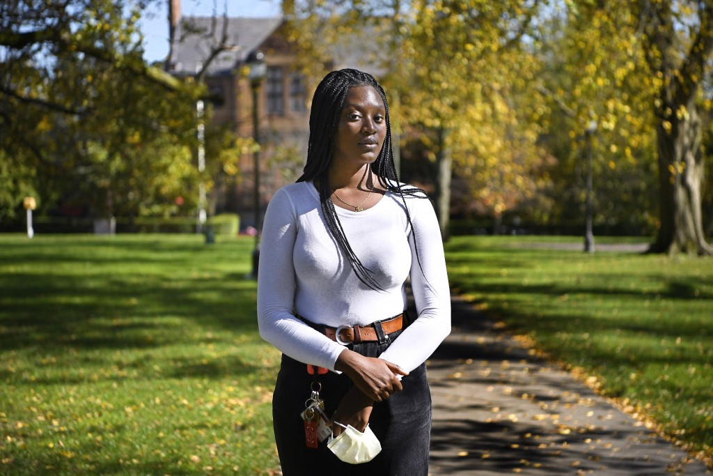 ADVANCE FOR RELEASE OCT. 22, 2020 AND THEREAFTER — Alphina Kamara at Wesleyan University, Saturday, Oct. 17, 2020, in Middletown, Conn. Kamara, a juni...