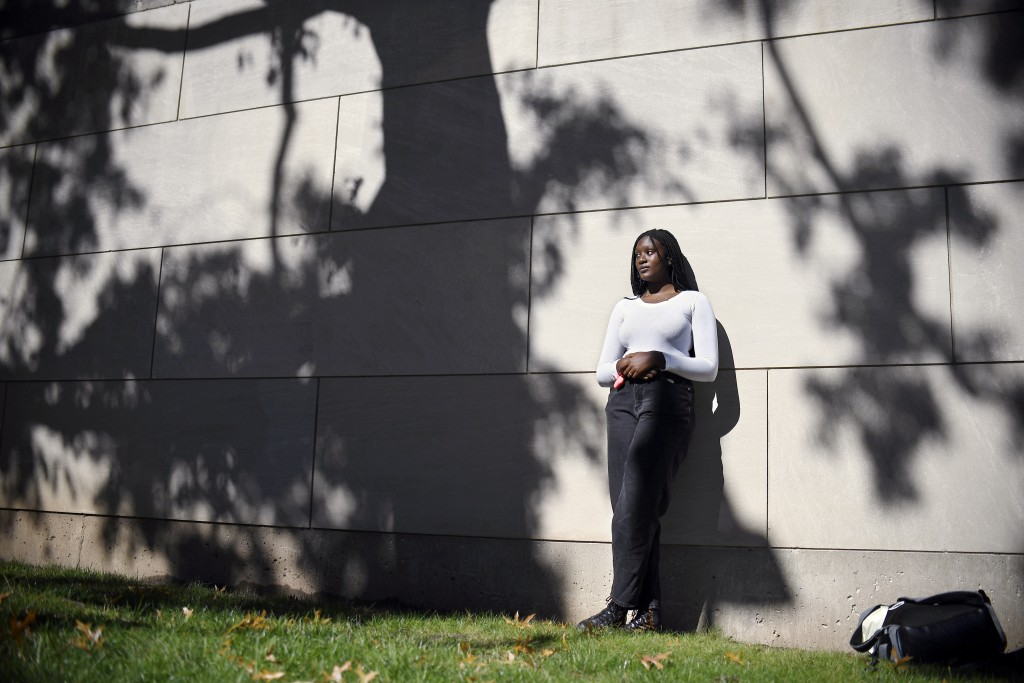 ADVANCE FOR RELEASE OCT. 22, 2020 AND THEREAFTER —  Alphina Kamara at Wesleyan University, Saturday, Oct. 17, 2020, in Middletown, Conn. Kamara, a jun...