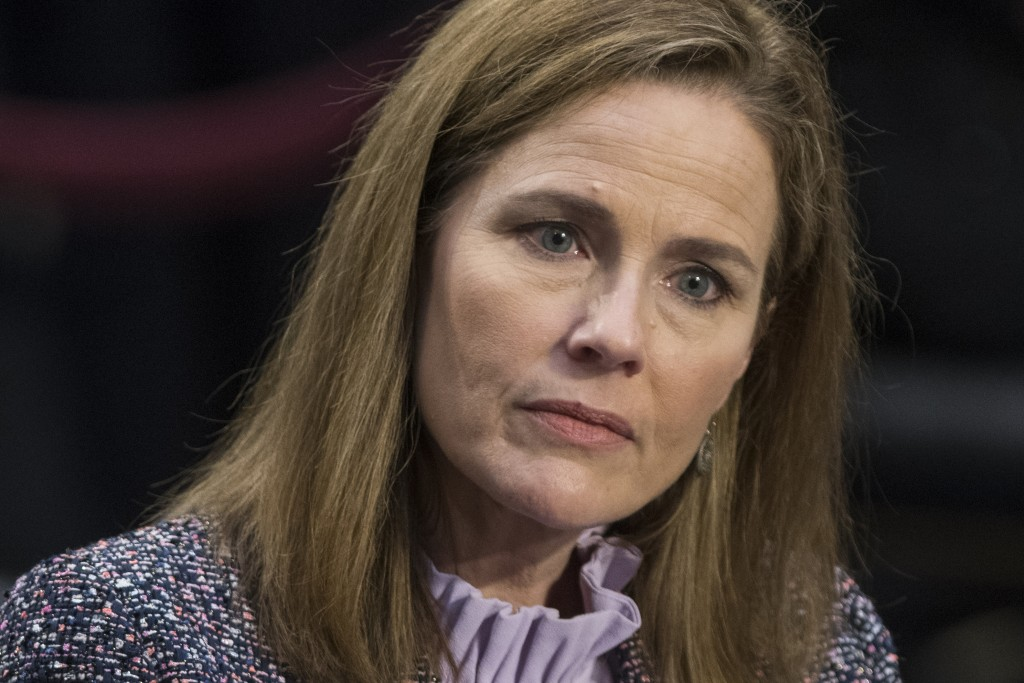 FILE - In this Oct. 14, 2020, file photo, Supreme Court nominee Amy Coney Barrett speaks during a confirmation hearing before the Senate Judiciary Com...