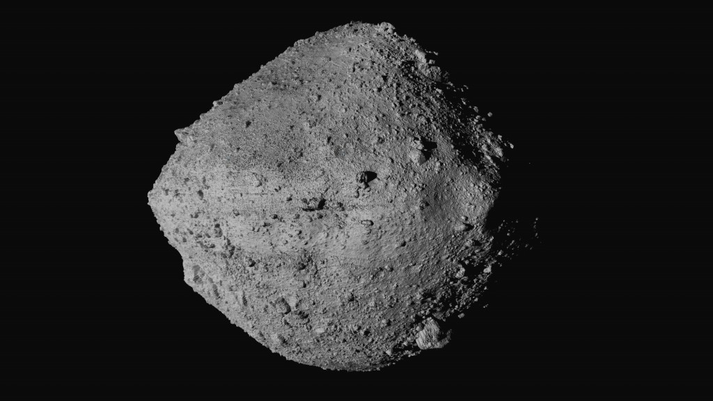 This undated image made available by NASA shows the asteroid Bennu from the OSIRIS-REx spacecraft. After almost two years circling the ancient asteroi...