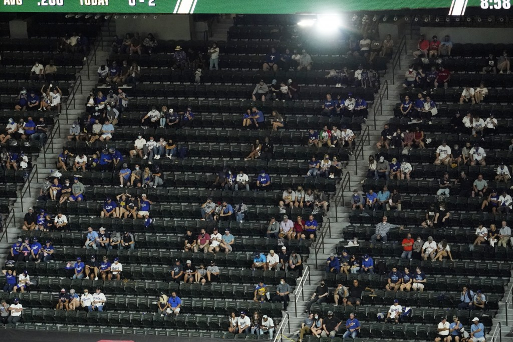 Fans watch during the fifth inning in Game 1 of the baseball World Series between the Los Angeles Dodgers and the Tampa Bay Rays Tuesday, Oct. 20, 202...