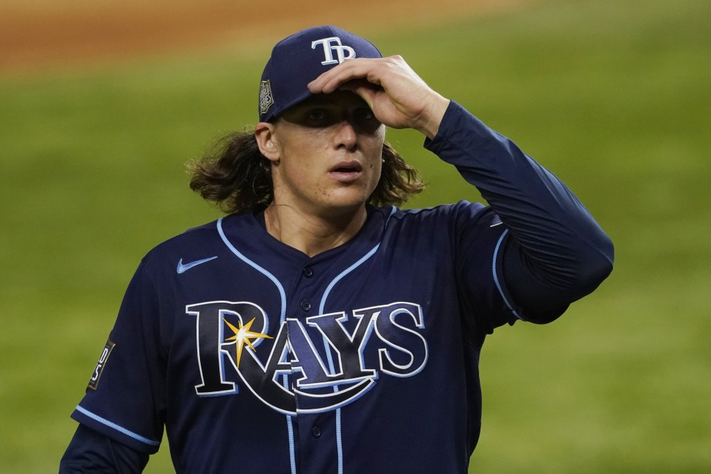 Tampa Bay Rays starting pitcher Tyler Glasnow leaves the game against the Los Angeles Dodgers during the fifth inning in Game 1 of the baseball World ...