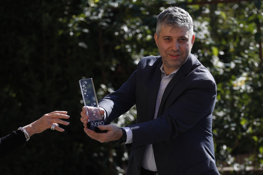Director Evgeny Afineevsky is awarded with the Kineo Movie for Humanity award at the Vatican, Thursday, Oct. 22, 2020. Director Evgeny Afineevsky was ...