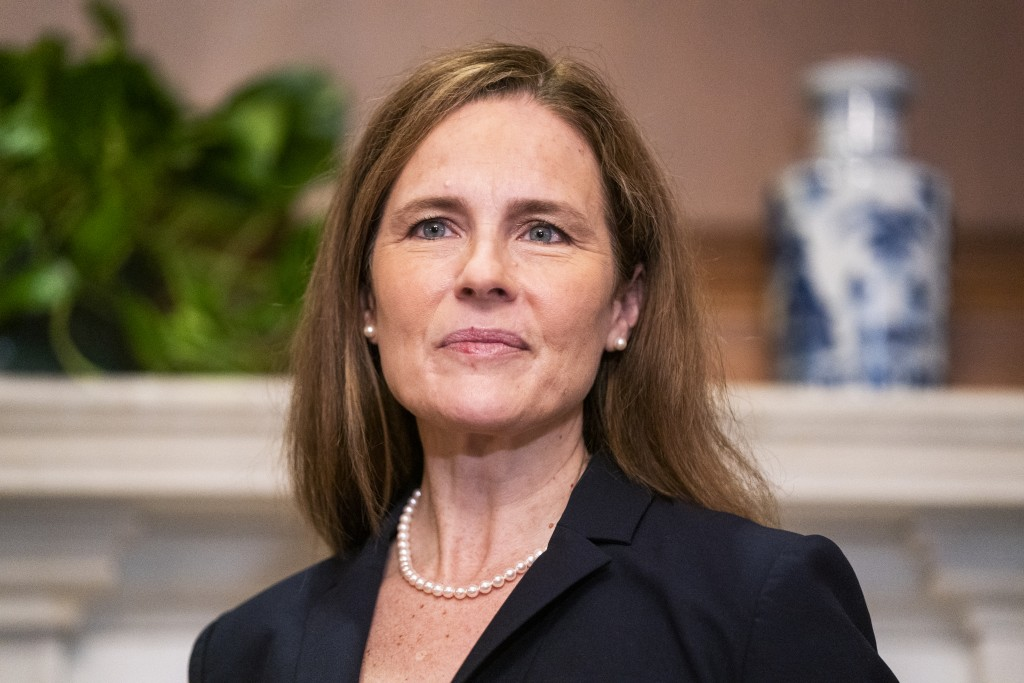 Supreme Court nominee Amy Coney Barrett meets with Sen. Martha McSally, R-Ariz., not pictured, Wednesday, Oct. 21, 2020, on Capitol Hill in Washington...