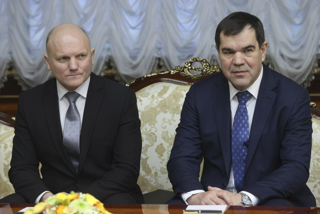 Ivan Tertel, chief of the Belarusian state security service, KGB, left, and Valery Vakulchik, State Secretary of the Security Council of Belarus, righ...