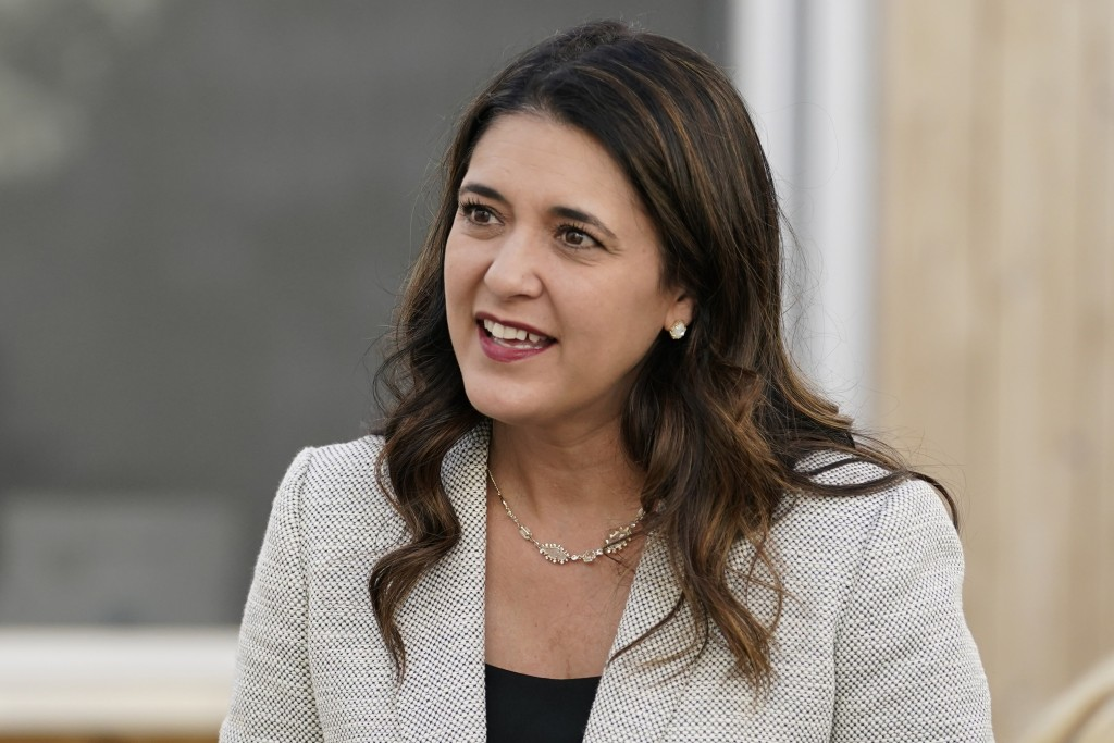 FILE - In this Wednesday, Sept. 30, 2020, file photo, Oklahoma state Sen. Stephanie Bice, Republican candidate for the U.S. House, talks with people a...