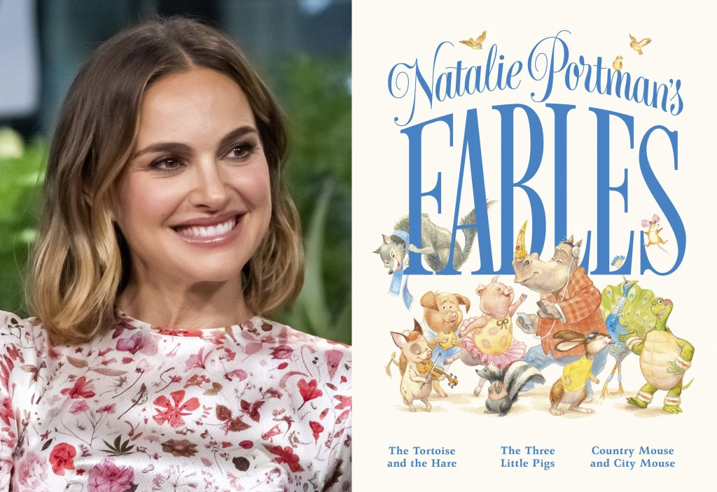 """Natalie Portman participates in the BUILD Speaker Series to discuss the film """"Lucy in the Sky"""" in New York on Oct. 2, 2019, left, and the cover of """"Na..."""