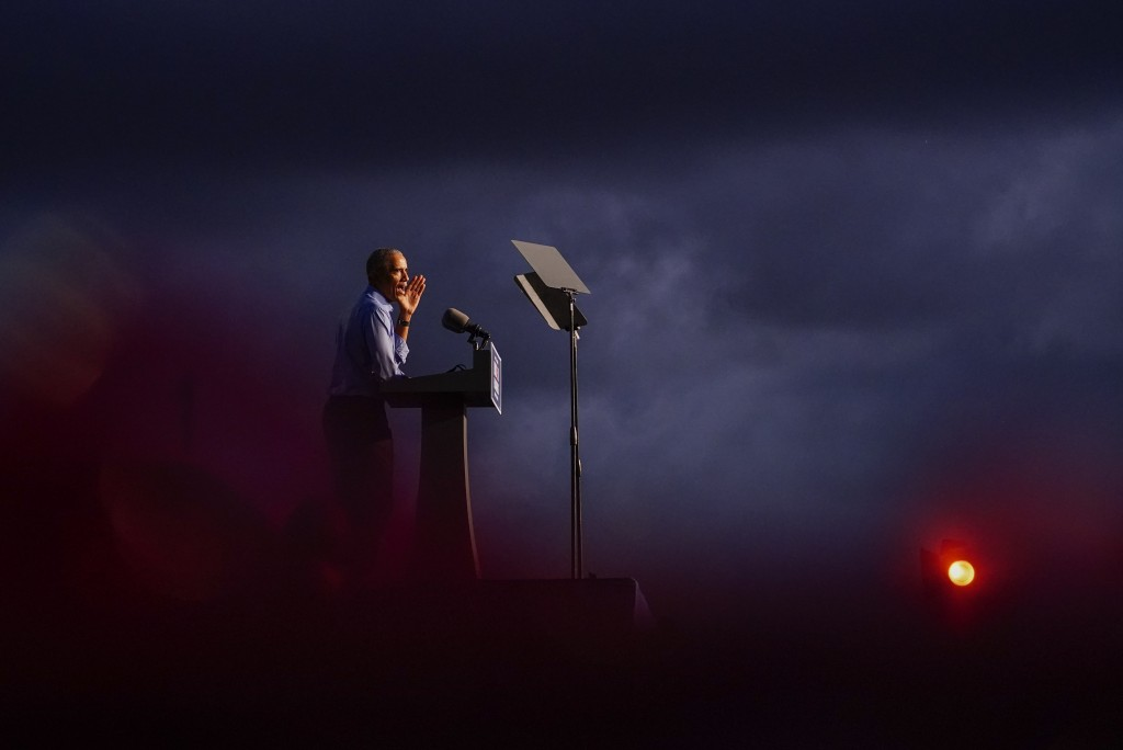 Former President Barack Obama speaks at Citizens Bank Park as he campaigns for Democratic presidential candidate former Vice President Joe Biden, Wedn...