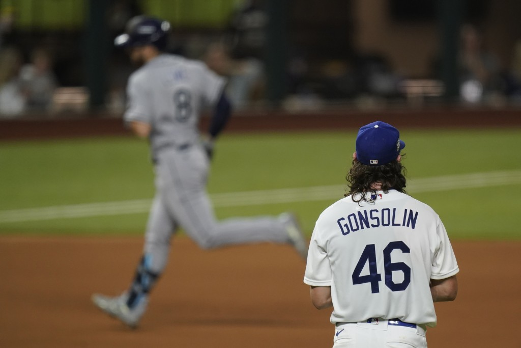 Tampa Bay Rays' Brandon Lowe rounds the bases after a home run off Los Angeles Dodgers starting pitcher Tony Gonsolin during the first inning in Game ...