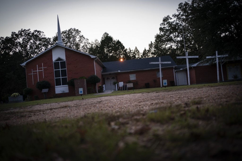Mt. Zion United Methodist Church is pictured at dusk, in Philadelphia, Miss., on Sunday, Oct. 4, 2020. In the summer of 1964 the church had been burne...