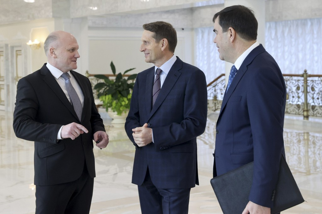 Sergei Naryshkin, head of the Russian Foreign Intelligence Service, centre, talks with Ivan Tertel, chief of the Belarusian state security service, KG...