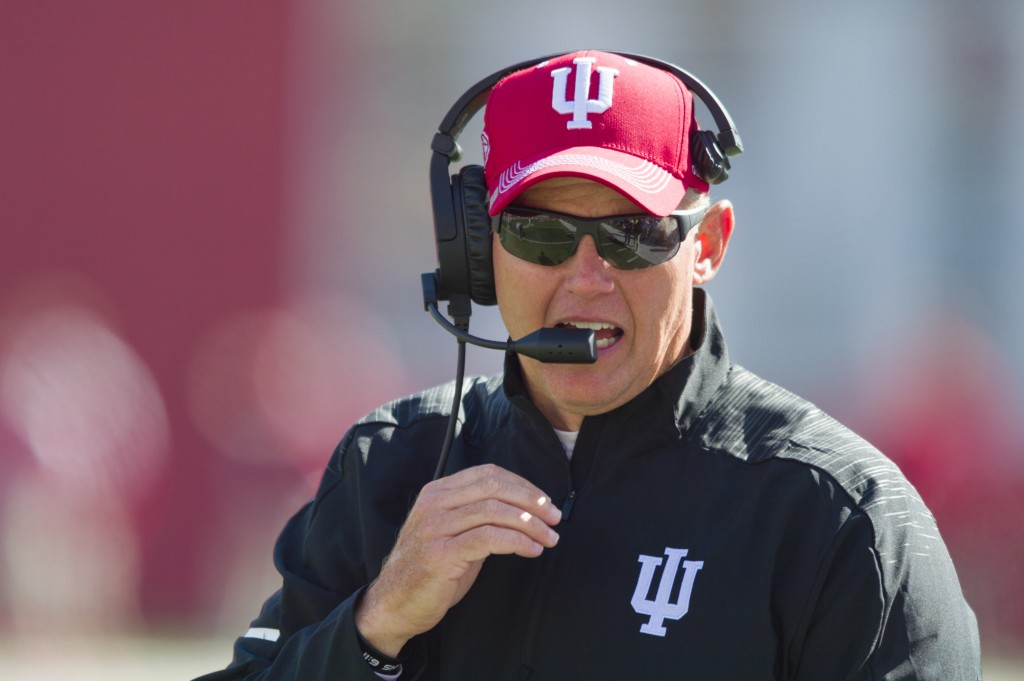 FILE - In this Saturday, Oct. 13, 2018, file photo, Indiana head coach Tom Allen is seen on the sidelines during the second half of an NCAA college fo...