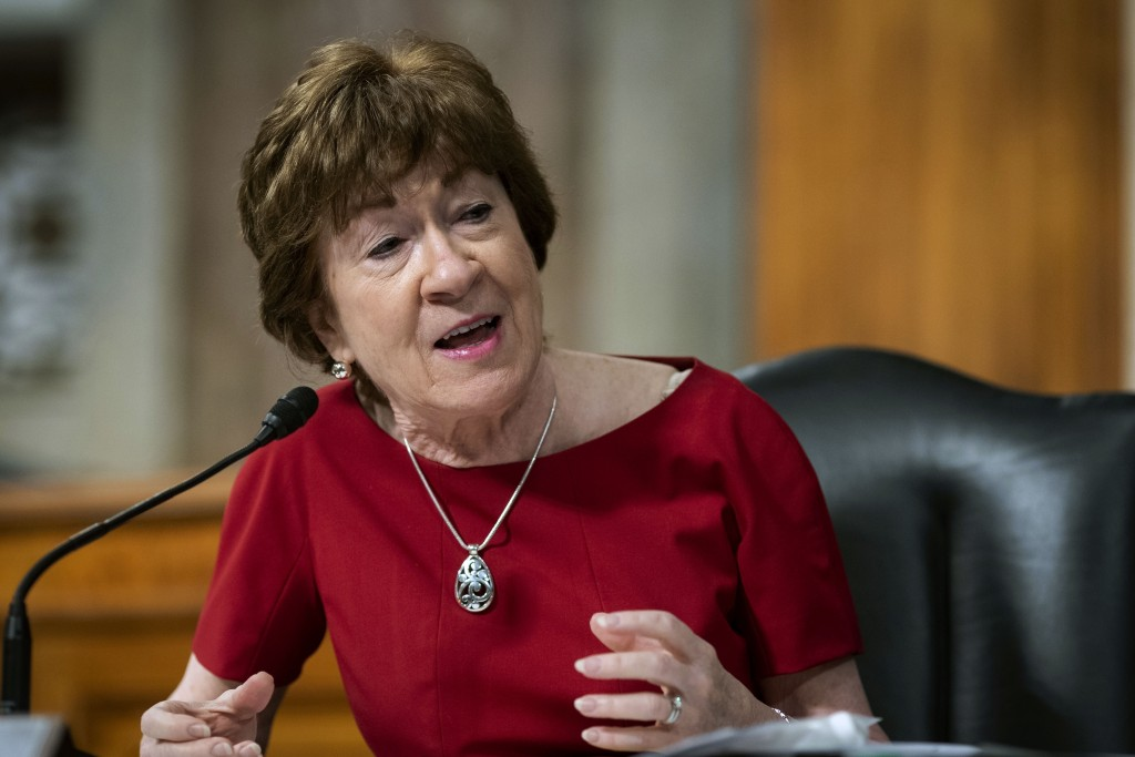 FILE - In this June 30, 2020, file photo, Sen. Susan Collins, R-Maine, speaks during a Senate Health, Education, Labor and Pensions Committee hearing ...