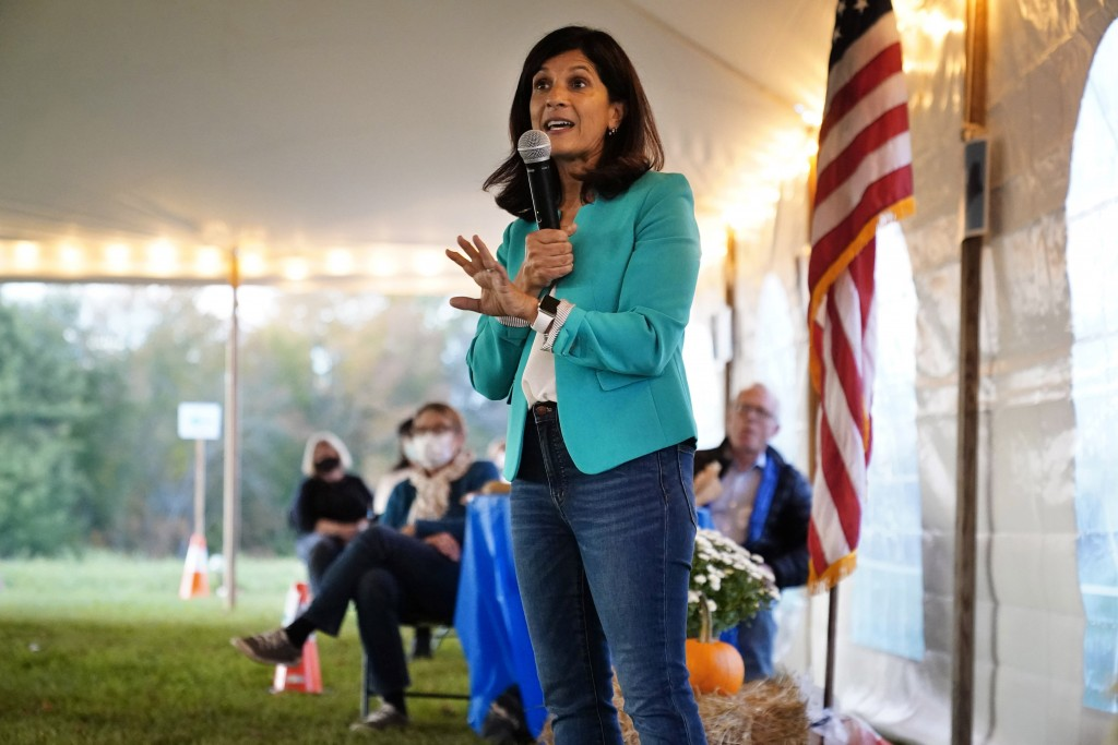"""Sara Gideon, a Democratic candidate for U.S. Senate, speaks at a """"Supper with Sara"""" campaign event, Thursday, Oct. 1, 2020, in Dayton, Maine. (AP Phot..."""
