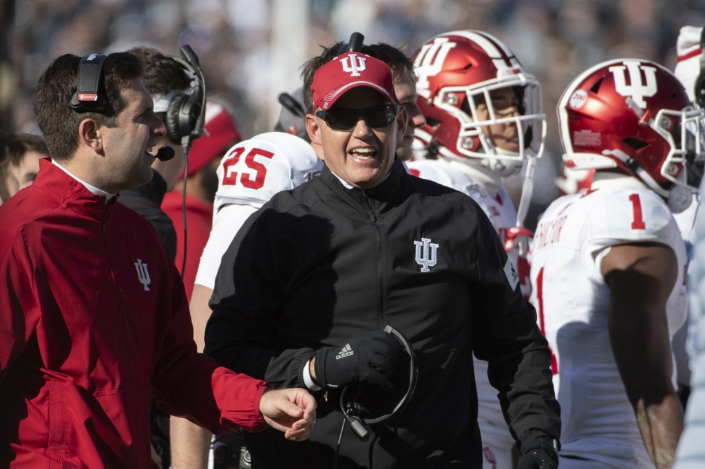 FILE - In this Nov. 16, 2019, file photo, Indiana coach Tom Allen watches the second quarter of the team's NCAA college football game against Penn Sta...