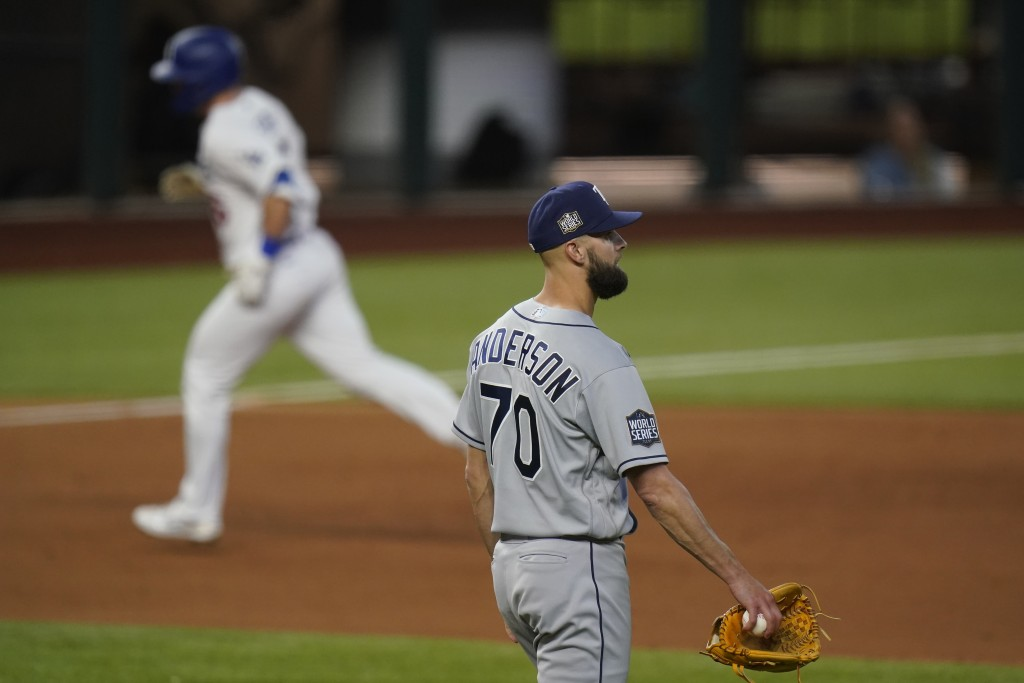 Los Angeles Dodgers' Will Smith rounds the bases after a home run off Tampa Bay Rays relief pitcher Nick Anderson during the sixth inning in Game 2 of...
