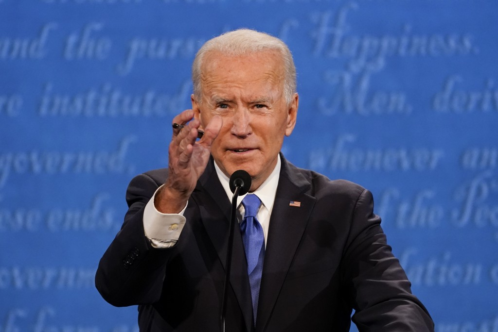 Democratic presidential candidate former Vice President Joe Biden gestures while speaking during the second and final presidential debate Thursday, Oc...